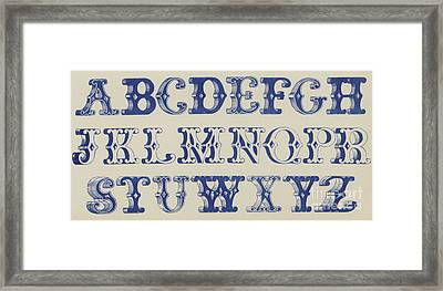 Ornamental Font Framed Print by English School