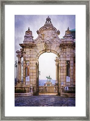 Ornamental Gateway Buda Castle Framed Print by Joan Carroll