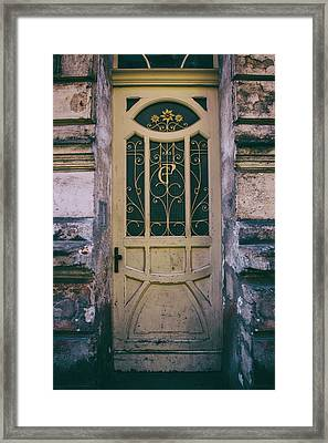 Ornamented Doors In Light Brown Color Framed Print