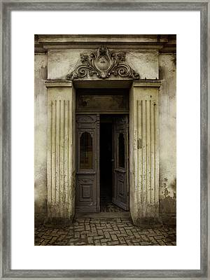Ornamented Gate In Dark Brown Color Framed Print