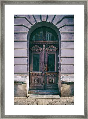 Ornamented Wooden Gate In Violet Tones Framed Print
