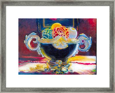 Ornate Black Bowl Framed Print by Jeanene Stein