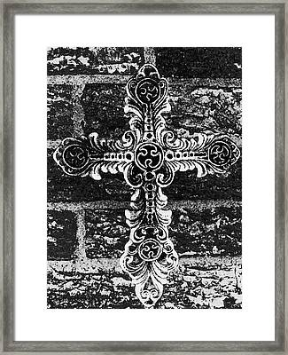 Ornate Cross 3 Bw Framed Print by Angelina Vick