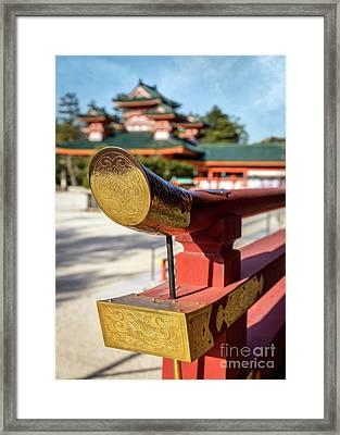 Ornate Details O Heian Jingu Shrine In Kyoto Framed Print