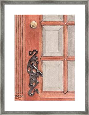 Ornate Door Handle Framed Print by Ken Powers