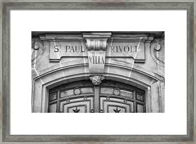 Ornate Door In Paris Framed Print