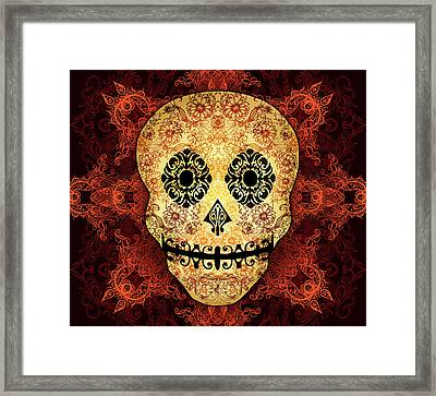 Ornate Floral Sugar Skull Framed Print