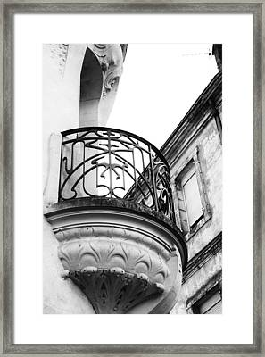 Ornate French Balcony In Mono Framed Print