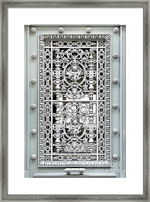 Ornate Green Door Paris Photograph Framed Print