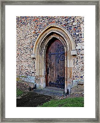 Ornate Hinges On Ancient Church Door Framed Print