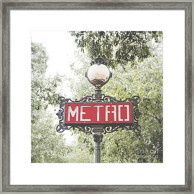 Ornate Paris Metro Sign Framed Print