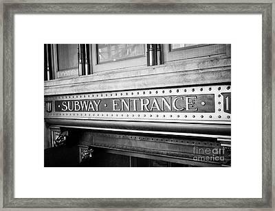 ornate subway entrance plaque trinity building New York City USA Framed Print