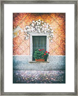 Ornate Window With Geraniums Framed Print by Silvia Ganora