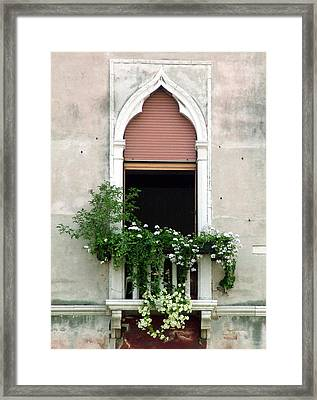 Framed Print featuring the photograph Ornate Window With Red Shutters by Donna Corless