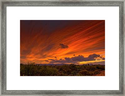 Framed Print featuring the photograph Oro Valley Sunset H6 by Mark Myhaver