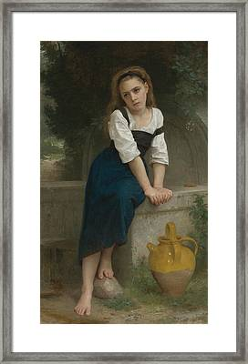 Orphan At The Fountain Framed Print by William-Adolphe Bouguereau