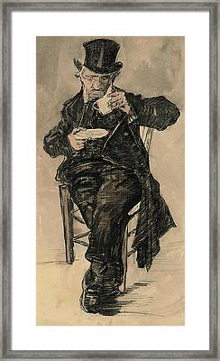 Orphan Man With A Top Hat Drinking A Cup Of Coffee Framed Print by Vincent Van Gogh