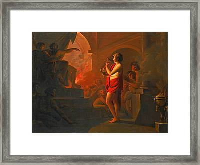 Orpheus And Eurydice In The Underworld Framed Print by Follower of Heinrich Fuger