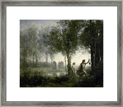 Orpheus Leading Eurydice From The Underworld Framed Print by Jean-Baptiste-Camille Corot