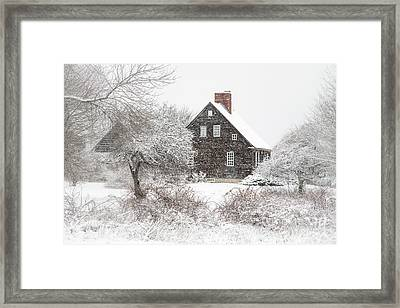 Orrs Island Home In A Snow Storm Framed Print by Benjamin Williamson