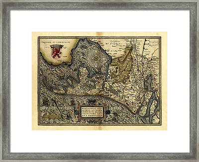 Ortelius's Map Of Holland, 1570 Framed Print by Library Of Congress, Geography And Map Division