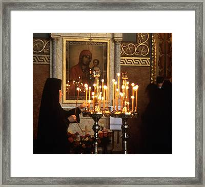 Orthodox Church Georgia Nuns Lighting Prayer Candles Framed Print by Richard Singleton