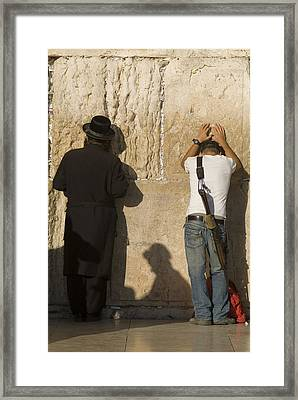 Orthodox Jew And Soldier Pray, Western Framed Print