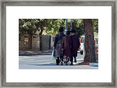 Orthodox Jews In Jerusalem Framed Print by Susan Heller
