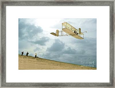Orville Wright Soars Above Kill Devil Hill Framed Print