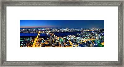 Osaka Night Rooftop View Framed Print