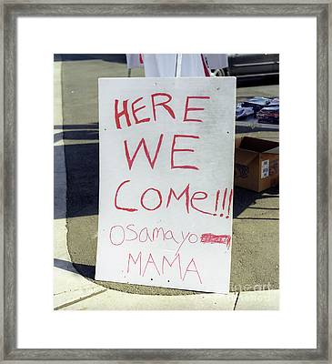 Osama Warning Sign Framed Print by Jim and Emily Bush