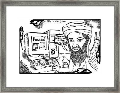 Osaman Bin Laden On Facebook By Yonatan Frimer Framed Print