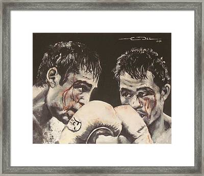 Oscar De La Hoya Vs Manny Pacquiao Framed Print by Eric Dee