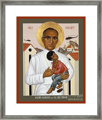 ID: Archbishop Oscar Romero is visible in white in front of Salvadoran buildings being bombed by helicopters.  Monsenor Romero has a halo and is holding a child in his arms.