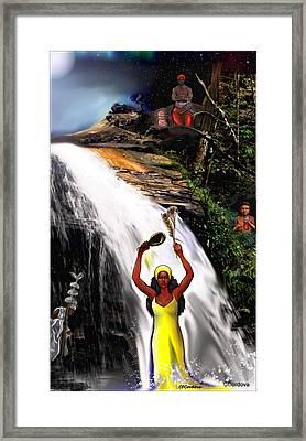 Oshun, Obatala, Elegua And Chango Framed Print