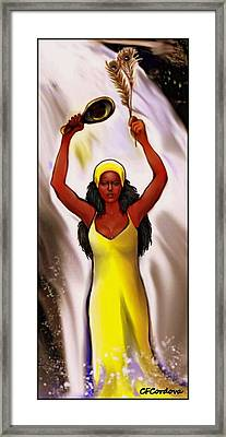 Oshun With Mirror And Peacock Feather Framed Print