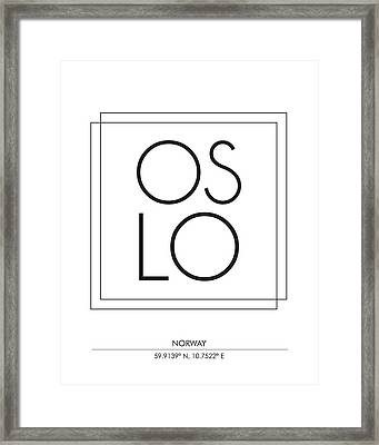 Oslo City Print With Coordinates Framed Print