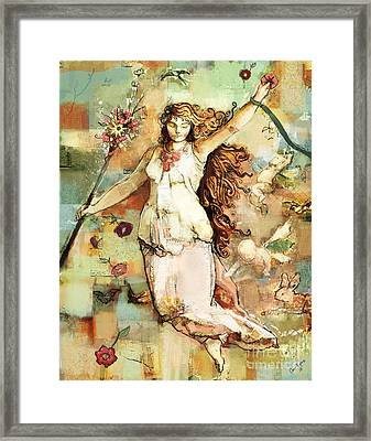 Framed Print featuring the mixed media Ostara by Carrie Joy Byrnes