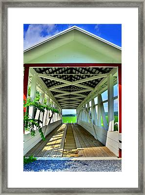 Osterburg-bowser Covered Bridge Framed Print by Lisa Wooten