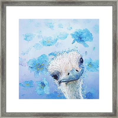 Ostrich In A Field Of Poppies Framed Print by Jan Matson