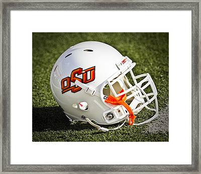 Osu Football Helmet Framed Print by Replay Photos