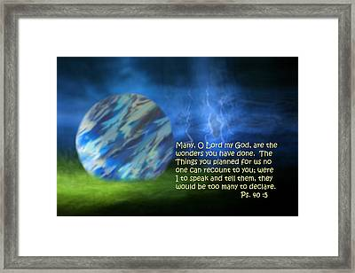 Otherworldly Psalm Forty Vs Five Framed Print by Linda Phelps