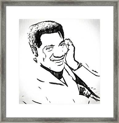 Otis Redding Charcoal Sketch Framed Print by Dan Sproul