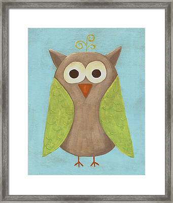 Otis The Owl Nursery Art Framed Print by Katie Carlsruh