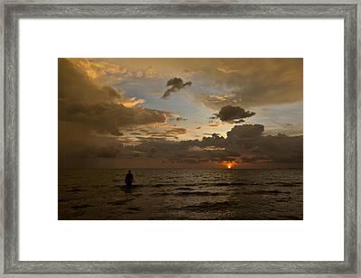 Otres Beach Sunset Framed Print