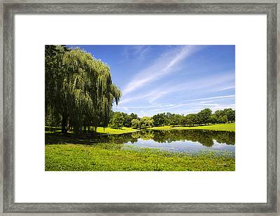 Otsiningo Park Reflection Landscape Framed Print by Christina Rollo