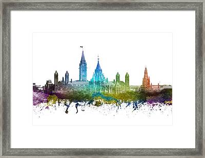 Ottawa Capital Hill Skyline 01 Framed Print by Aged Pixel
