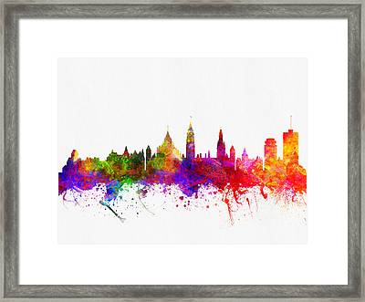 Ottawa Ontario Skyline Color02 Framed Print by Aged Pixel