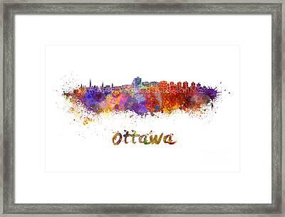Ottawa Skyline In Watercolor Framed Print by Pablo Romero