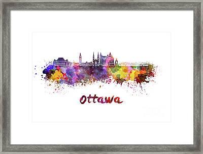 Ottawa V2 Skyline In Watercolor Framed Print by Pablo Romero